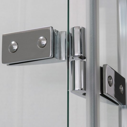 Chrome hinge in open position