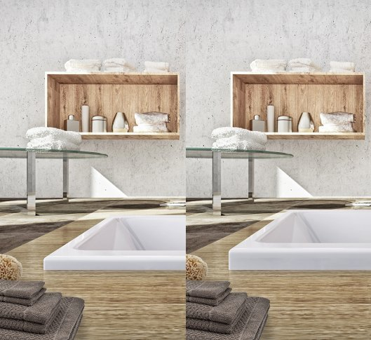 Edge height comparison for KUBIC NEO and KUBIC NEO SLIM bathtubs